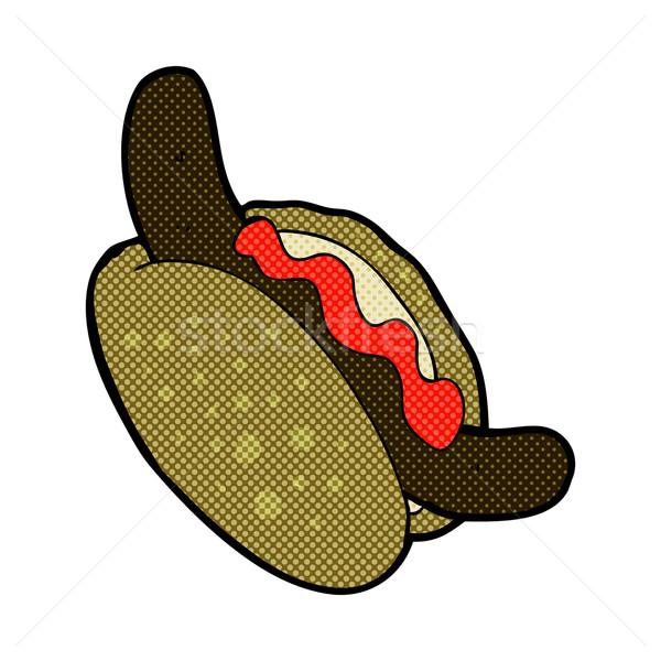 Képregény rajz hotdog retro képregény stílus Stock fotó © lineartestpilot
