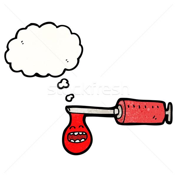 Karikatur medizinischen Spritze Blut Textur Hand Stock foto © lineartestpilot