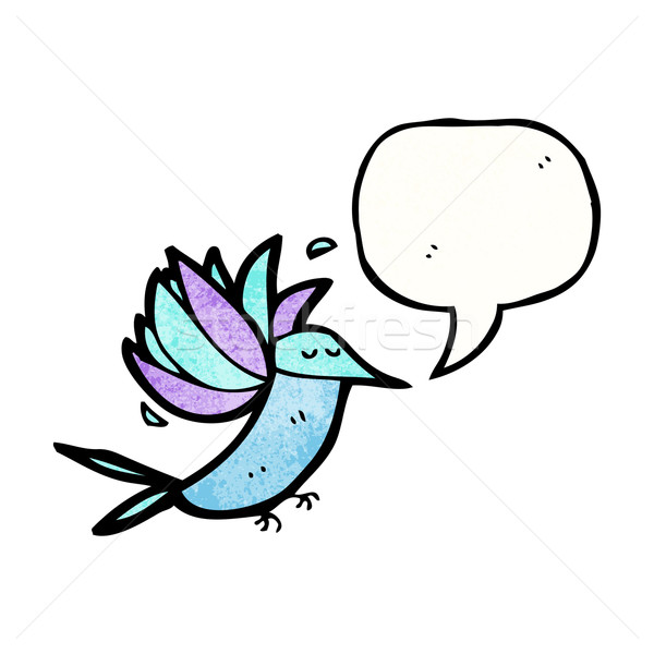 Desenho animado beija-flor balão de fala falante retro desenho Foto stock © lineartestpilot
