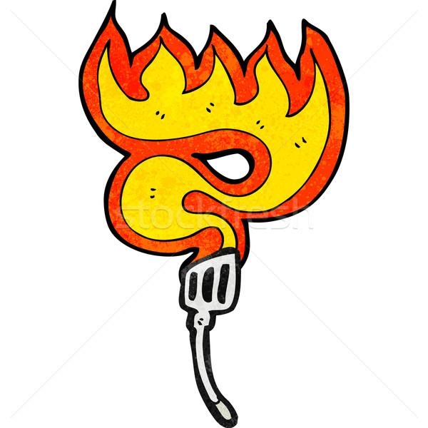 flaming hot spatula cartoon Stock photo © lineartestpilot