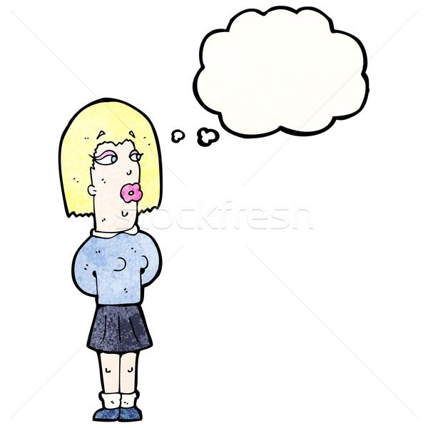 Cartoon lelijk vrouw gedachte bel man retro Stockfoto © lineartestpilot