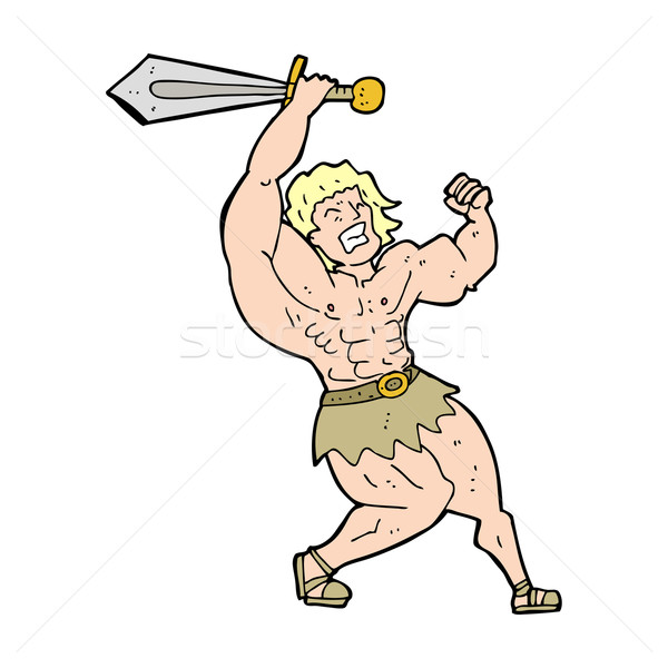 Stock photo: cartoon barbarian hero