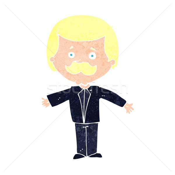 cartoon mustache man with open arms Stock photo © lineartestpilot