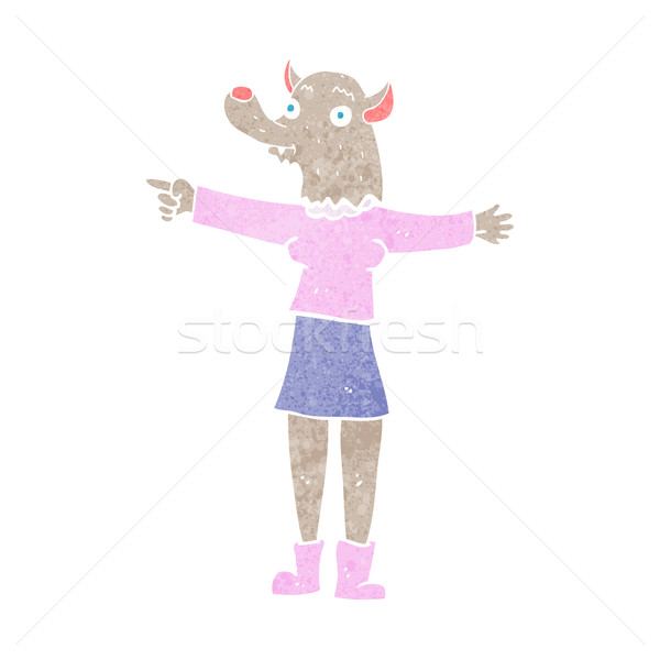cartoon pointing werewolf woman Stock photo © lineartestpilot