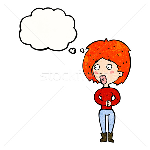 Cartoon удивленный женщину мысли пузырь стороны дизайна Сток-фото © lineartestpilot