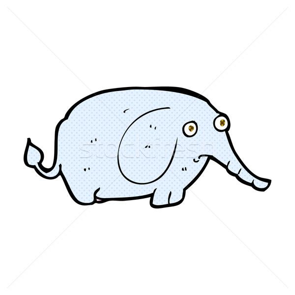 Komiks cartoon smutne mały słoń retro Zdjęcia stock © lineartestpilot