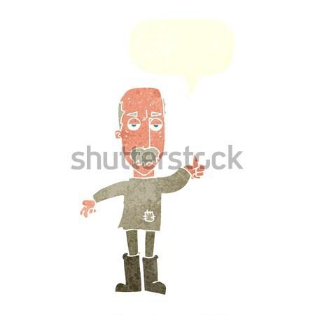 Karikatür rahatsız yaşlı adam düşünce balonu el dizayn Stok fotoğraf © lineartestpilot