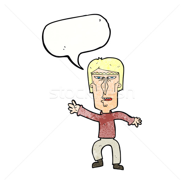 cartoon angry man waving warning with speech bubble Stock photo © lineartestpilot