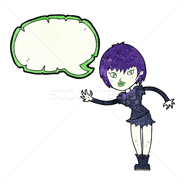 Desenho animado vampiro menina balão de fala mulher mão Foto stock © lineartestpilot