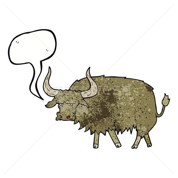 Karikatur verärgert haarig Kuh Sprechblase Hand Stock foto © lineartestpilot