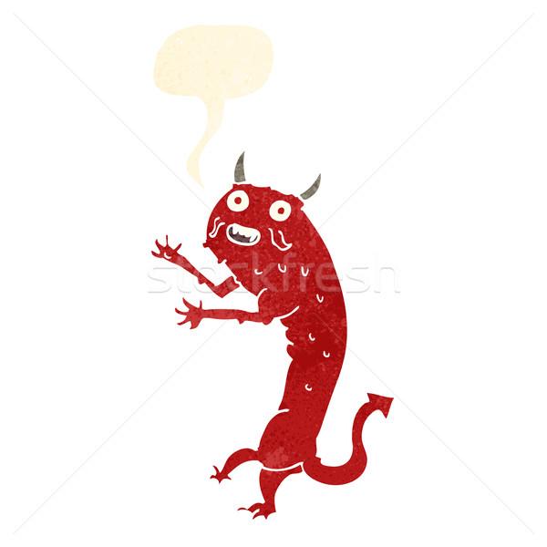 Rajz ördög szövegbuborék kéz terv művészet Stock fotó © lineartestpilot