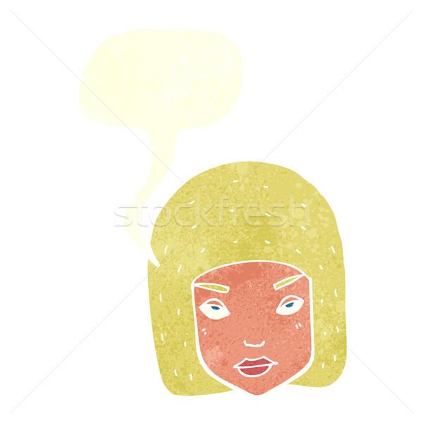 Cartoon geërgerd vrouwelijke gezicht tekstballon meisje Stockfoto © lineartestpilot