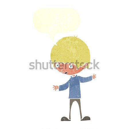 cartoon boy with outstretched arms with speech bubble Stock photo © lineartestpilot