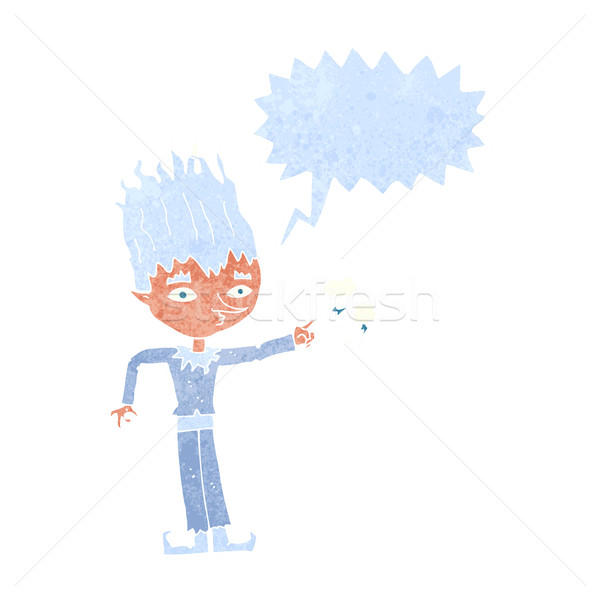 jack frost cartoon with speech bubble Stock photo © lineartestpilot