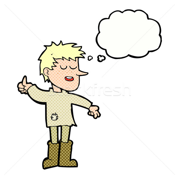cartoon poor boy with positive attitude with thought bubble Stock photo © lineartestpilot