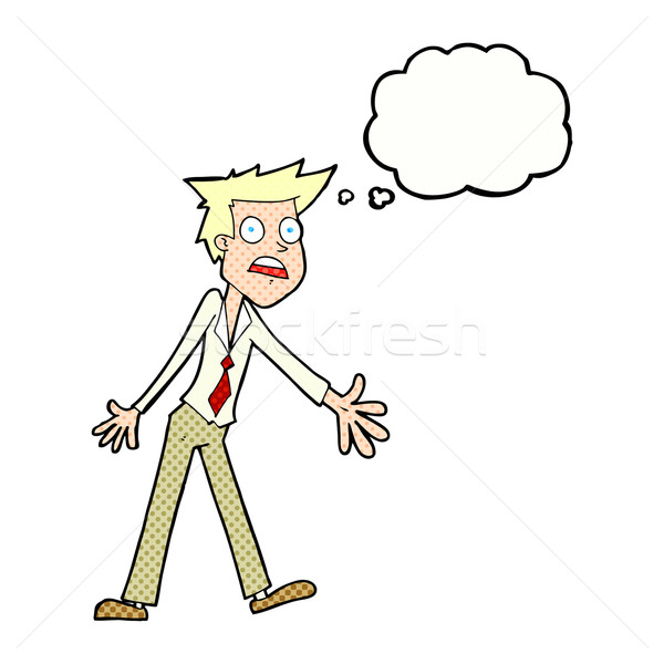 cartoon stressed man with thought bubble Stock photo © lineartestpilot