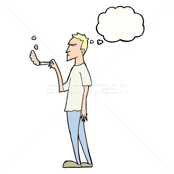 cartoon annoyed smoker with thought bubble Stock photo © lineartestpilot