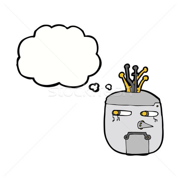Rajz robot fej gondolatbuborék kéz terv Stock fotó © lineartestpilot
