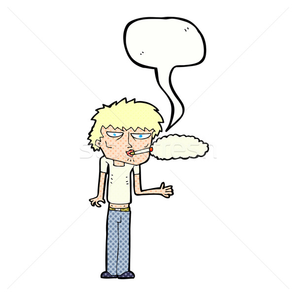 cartoon smoker with speech bubble Stock photo © lineartestpilot