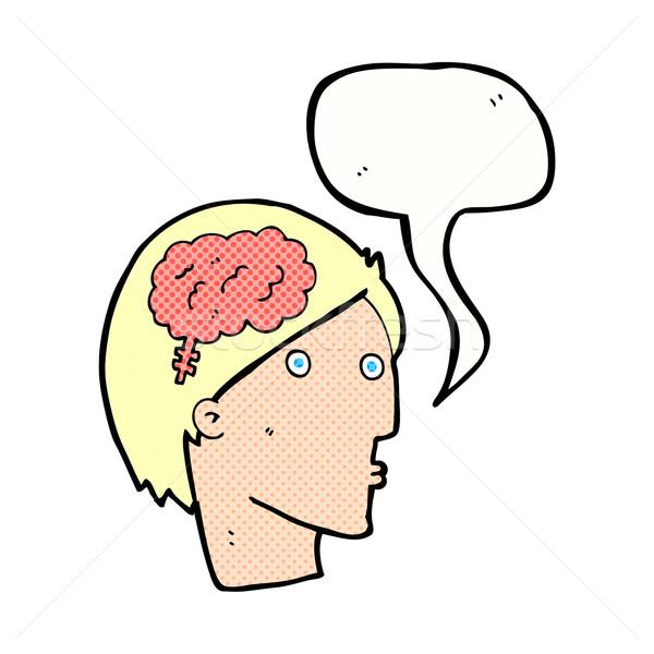 Cartoon man hersenen symbool tekstballon hand Stockfoto © lineartestpilot