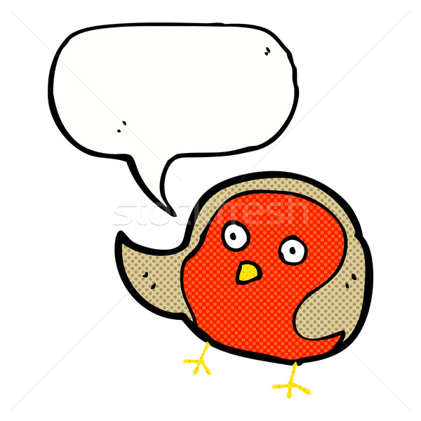 cartoon robin with speech bubble Stock photo © lineartestpilot