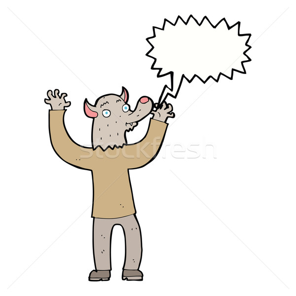 cartoon happy werewolf man with speech bubble Stock photo © lineartestpilot