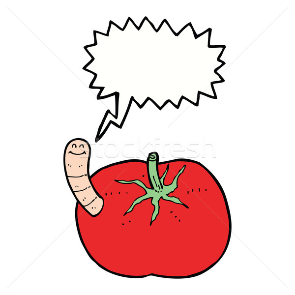 cartoon tomato with worm with speech bubble Stock photo © lineartestpilot