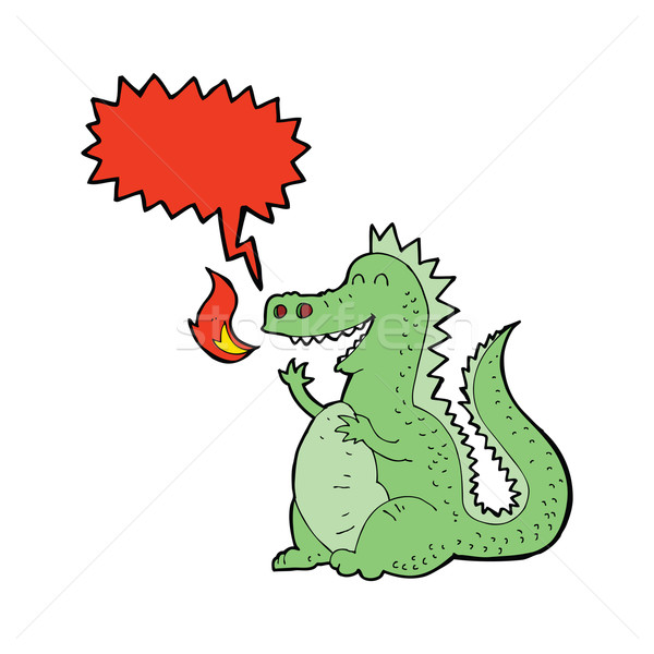 cartoon fire breathing dragon with speech bubble Stock photo © lineartestpilot