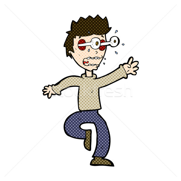 comic cartoon terrified man with eyes popping out Stock photo © lineartestpilot
