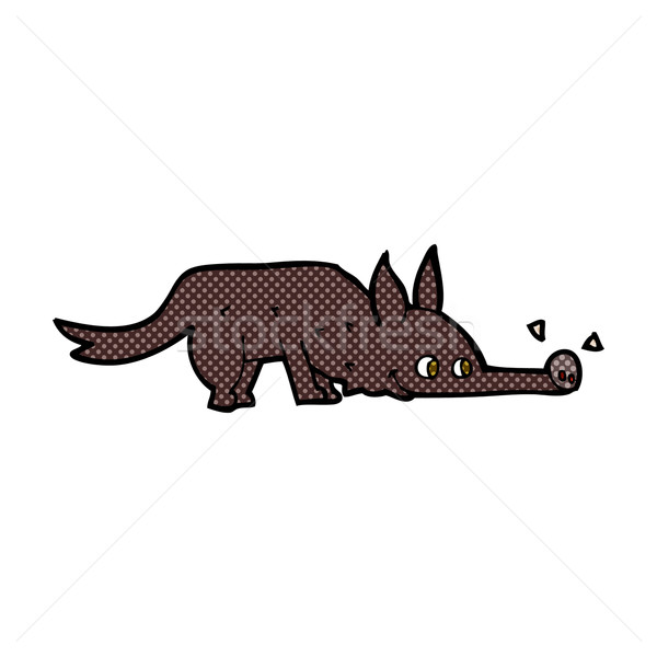 comic cartoon dog sniffing floor Stock photo © lineartestpilot