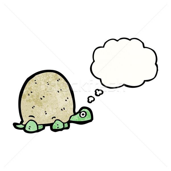 Cartoon черепаха мысли пузырь текстуры стороны счастливым Сток-фото © lineartestpilot