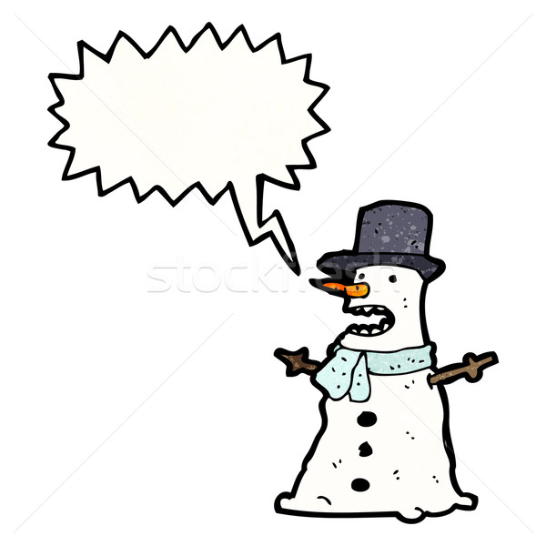 grumpy snowman cartoon Stock photo © lineartestpilot