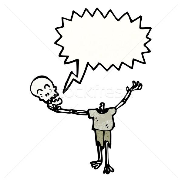 Karikatur Skelett halten besitzen Kopf sprechen Stock foto © lineartestpilot
