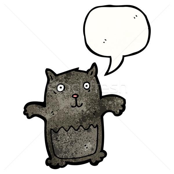 Rajz fekete macska macska művészet retro rajz Stock fotó © lineartestpilot