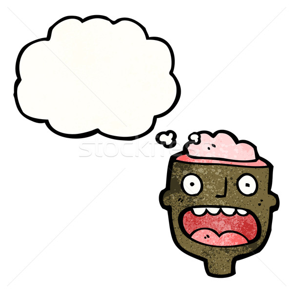 Photo stock: Cartoon · tête · exposé · cerveau · rétro · ballon