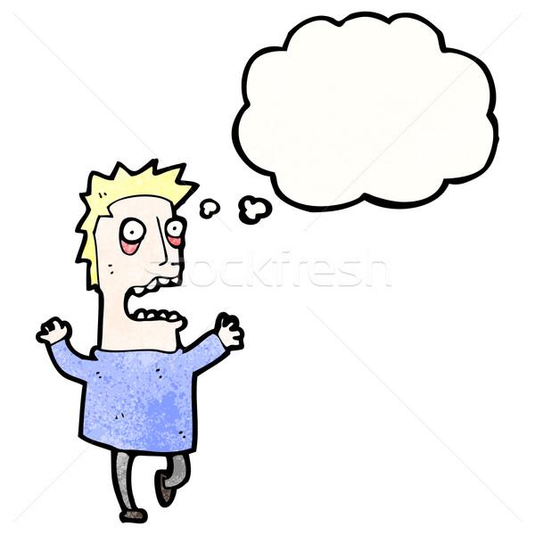 Cartoon przerażony człowiek retro balon rysunek Zdjęcia stock © lineartestpilot