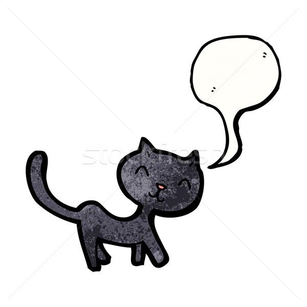 Stock fotó: Rajz · fekete · macska · művészet · fekete · retro · rajz