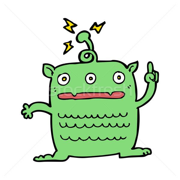 Desenho animado estranho pequeno alienígena mão projeto Foto stock © lineartestpilot
