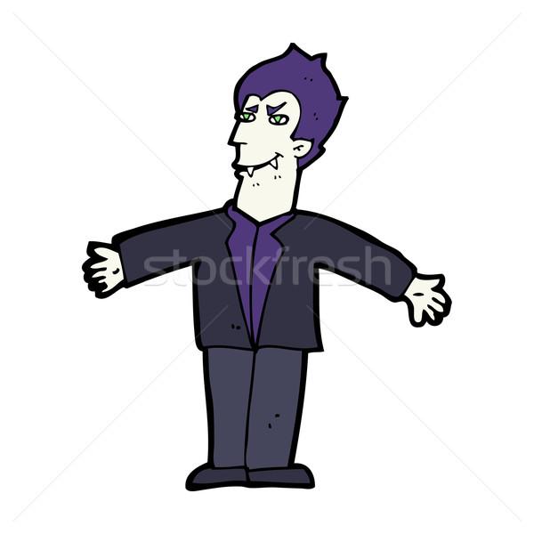 Karikatür vampir adam açmak silah el Stok fotoğraf © lineartestpilot