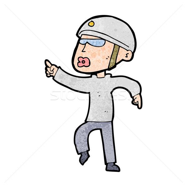 cartoon man in bike helmet pointing Stock photo © lineartestpilot