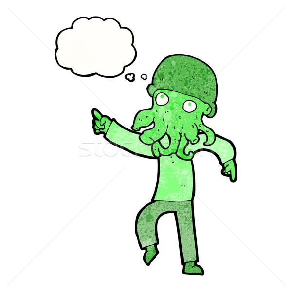 Desenho animado alienígena homem dança balão de pensamento mão Foto stock © lineartestpilot