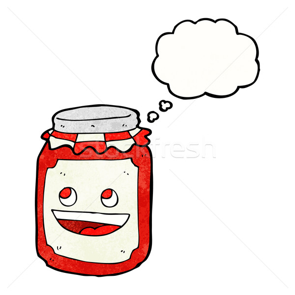cartoon jar of preserve with thought bubble Stock photo © lineartestpilot