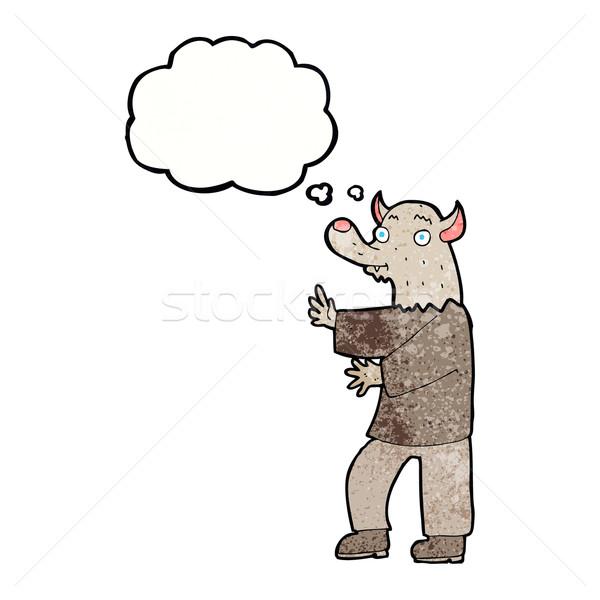 Karikatür kurt adam düşünce balonu el dizayn sanat Stok fotoğraf © lineartestpilot
