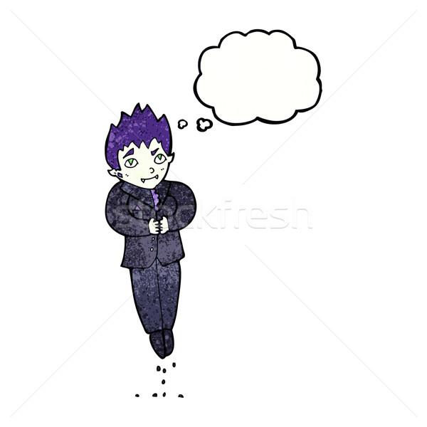 Desenho animado flutuante vampiro balão de pensamento mão homem Foto stock © lineartestpilot