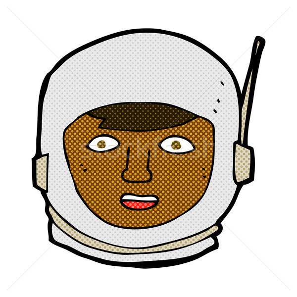 Komiks cartoon astronauta głowie retro komiks Zdjęcia stock © lineartestpilot