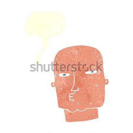 Foto stock: Desenho · animado · careca · difícil · cara · balão · de · pensamento · mão