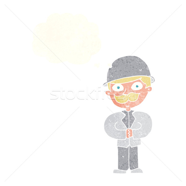 cartoon man in bowler hat with thought bubble Stock photo © lineartestpilot
