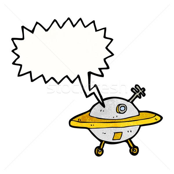 Desenho animado voador pires balão de fala mão projeto Foto stock © lineartestpilot