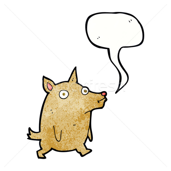 cartoon funny little dog with speech bubble Stock photo © lineartestpilot