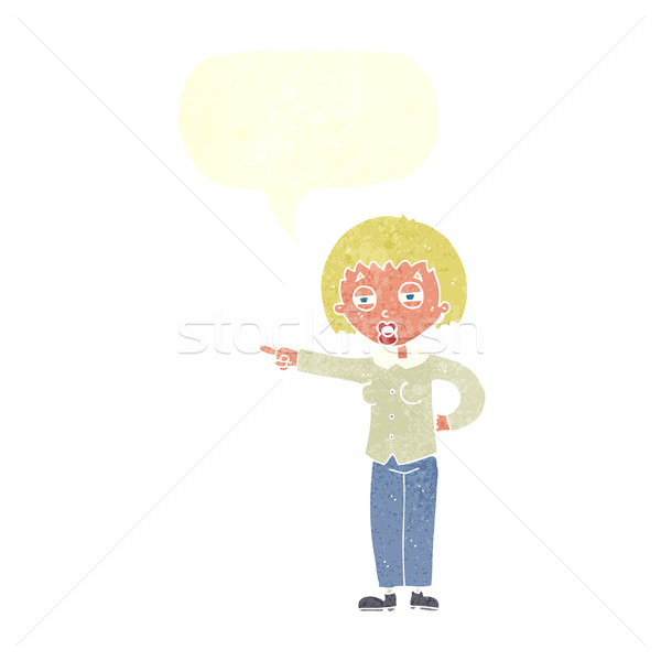 cartoon woman telling off with speech bubble Stock photo © lineartestpilot